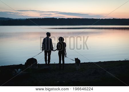 Back view of two silhouettes with dogs holding hands on coastline.