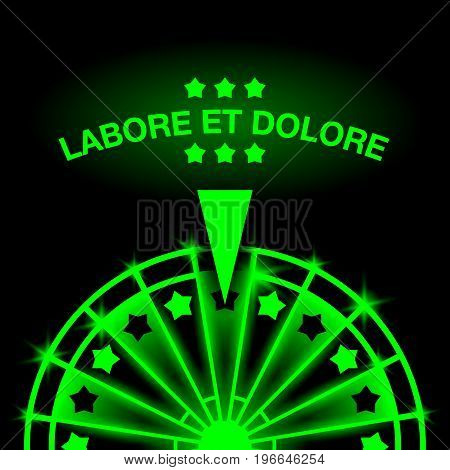 Wheel of Fortune. Neon casino gaming machine illustration.