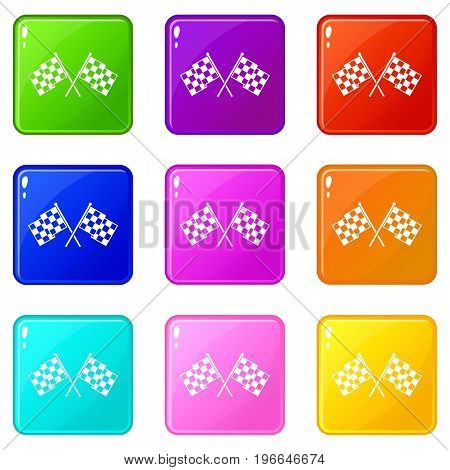 Checkered racing flags icons of 9 color set isolated vector illustration