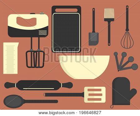 Flat vector kitchen equipment bakery set. Cute colored cooking tools including mixer measuring cup spatula brush wire whisk