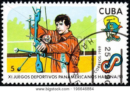 UKRAINE - CIRCA 2017: A postage stamp printed in Cuba shows Archery from series 11th Pan American Games circa 1989