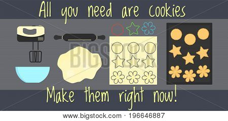 Flat vector home bakery recipe infographics how to make home made cookies for web design banner cookbook brochure template card