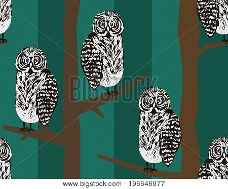 Freak hipster seamless pattern with tawny owls in night forest. Cute texture for textile wrapping paper cover background design wallpaper