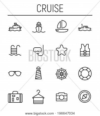 Set of cruise icons in modern thin line style. High quality black outline travel symbols for web site design and mobile apps. Simple cruise pictograms on a white background.