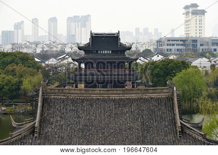SUZHOU CHINA - MARCH 22: Panorama of Suzhou on March 22 2016 in China. Suzhou is a major economic center and focal point of trade and commerce in Jiangsu Province East China.