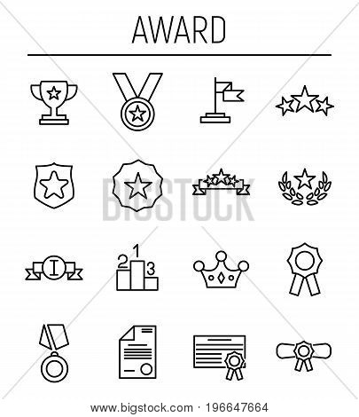 Set of award in modern thin line style. High quality black outline achievement symbols for web site design and mobile apps. Simple award pictograms on a white background.