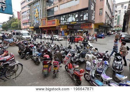 SUZHOU CHINA - MARCH 21: Suzhou street on March 21 2016 in Suzhou China. Suzhou is a major city located in southeastern Jiangsu Province of East China.