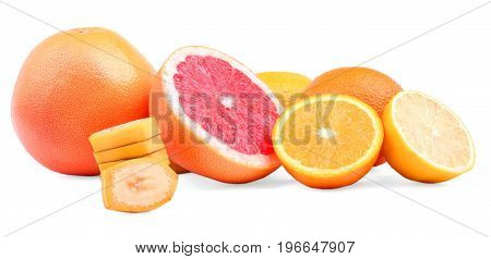 Tasteful and juicy citruses isolated on a white background. Sliced nutritious banana and ripe oranges, natural lemons and exotic grapefruits. Freshness, nature and health concept.