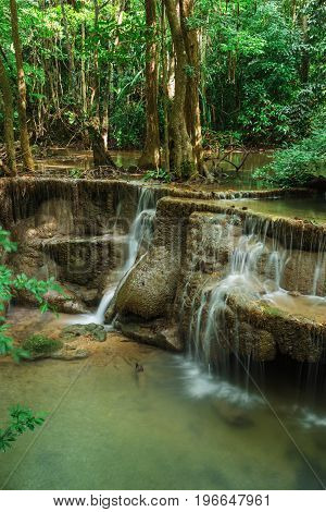 Level 6 Of Huay Mae Kamin Waterfall In Khuean Srinagarindra National Park, Kanchanaburi, Thailand