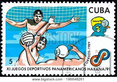 UKRAINE - CIRCA 2017: A postage stamp printed in Cuba shows Water polo from series 11th Pan American Games circa 1989