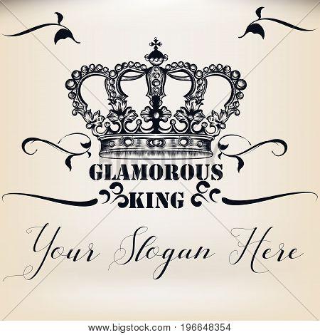 Elegant vector invitation card with king heraldic crown
