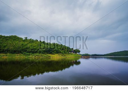 View Of River And Mountain In Kanchanaburi, Thailand