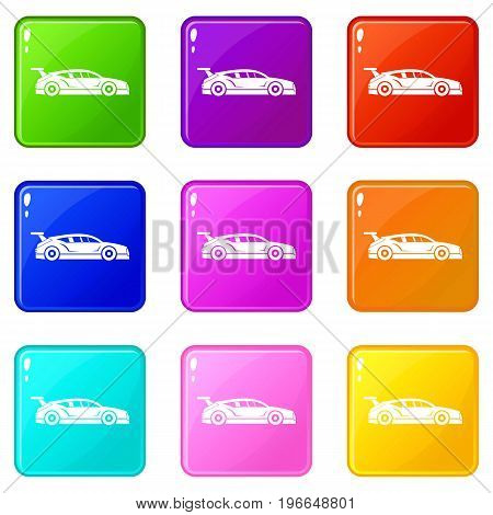 Rally racing car icons of 9 color set isolated vector illustration
