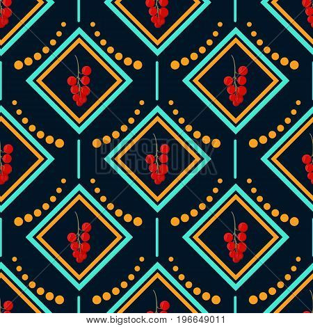 Yellow and blue diamond with a branch of the berry red currant. Geometric seamless pattern