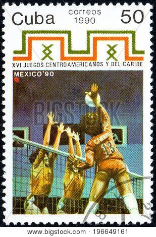 UKRAINE - CIRCA 2017: A postage stamp printed in Cuba shows Volleyball from series 16th Central American and Caribbean Games circa 1990