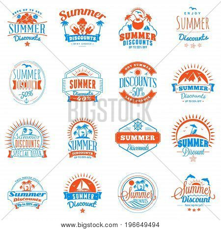 Set of summer discount promotional emblem design. Typographic retro style summer advertising badges for banner or poster. Red and blue color theme. Isolated on white. Vector illustration