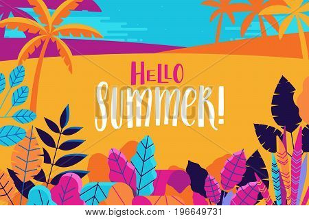 Vector Illustration  - Summer Background With Hand-lettering Text Hello Summer