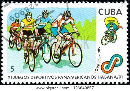 UKRAINE - CIRCA 2017: A postage stamp printed in Cuba shows Cycling from series 11th Pan American Games circa 1989