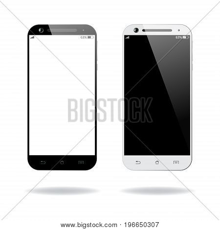 Black and white smartphones isolated. Mobile smart phone with blank screen. Cell phone mockup design. Vector illustration.