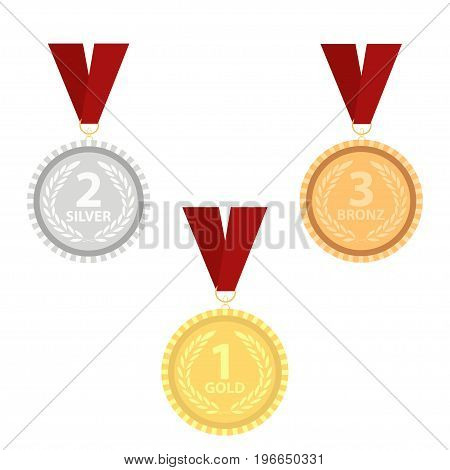 Champion gold, silver and bronze award medals with red ribbons set. Vector illustration