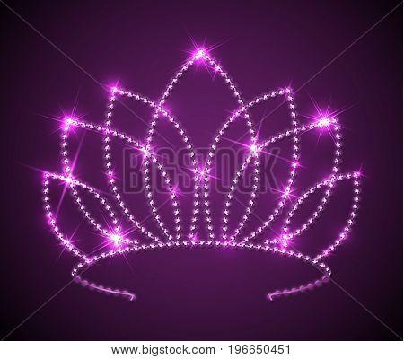 Shiny pink tiara with sparkles - diadem illustration - raster version