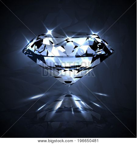 Dazzling shiny crystal clear diamond with sparkles - raster version