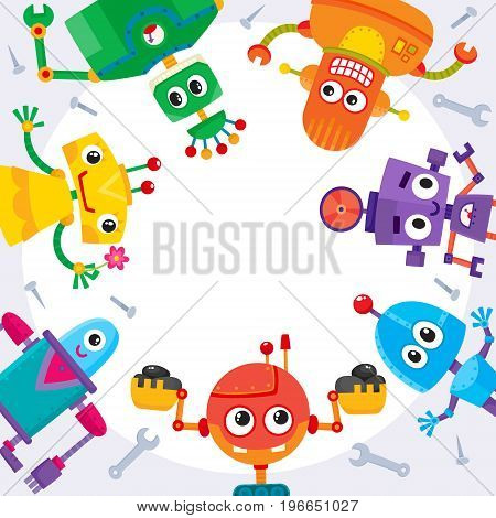 Square banner, poster with funny cartoon robot characters, round place for text, vector illustration on white background. Banner, poster, postcard template with funny colorful cartoon robot characters