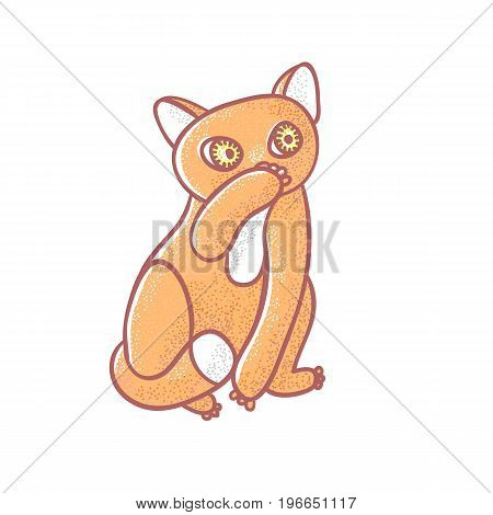 Textured color vector isolated illustration of cute emotional ginger kitten. The face of a cat expresses disgust. Pussycat is closed a paw a nose. Drawn lines and painted a picture of the pet