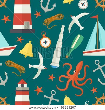 Seamless pattern with flat cartoon nautical elements - lighthouse, anchor, compass, ship, rope, seagull, bell, telescope, vector illustration on sea green background. Nautical seamless pattern