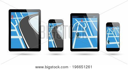 Smartphone and PC tablet map location. Electronic gadget screen with gps navigation pin pointer and way road. Vector illustration.
