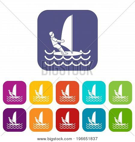 Man on windsurf icons set vector illustration in flat style in colors red, blue, green, and other
