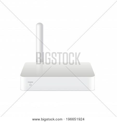 Realistic White Multimedia and TV box receiver player and streamer. Mock up for brand template. vector illustration.