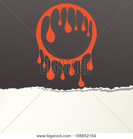 Pieces of ripped black blank paper strip, shred with orange leaked circle