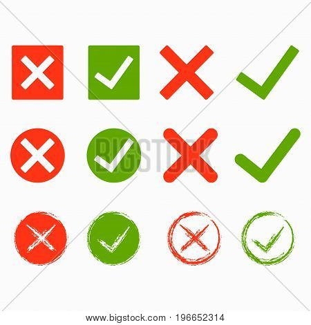 Set of green and red cross and hook Checkmark OK and X icons Symbols YES and NO button for vote decision