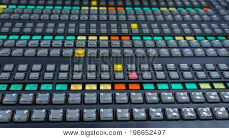 Video Switcher Panel with a lot of color buttons for Tv Controm Room