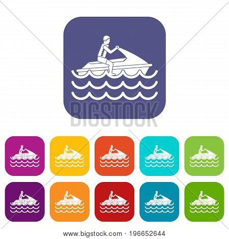 Man on jet ski rides icons set vector illustration in flat style in colors red, blue, green, and other