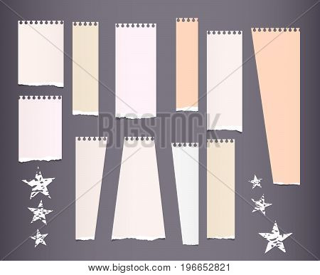 Ripped brown note, notebook, copybook vertical paper strips with stars