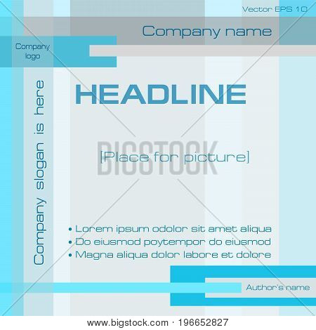 Technology geometric background template, cyan, gray, square. Layout minimalistic design with text for cover, annual report, business presentation, brochure, leaflet, poster. EPS10 vector illustration