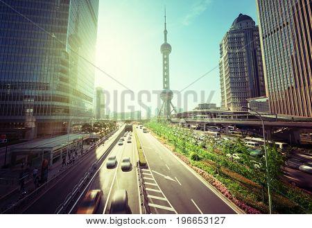 road in Shanghai lujiazui financial center, China