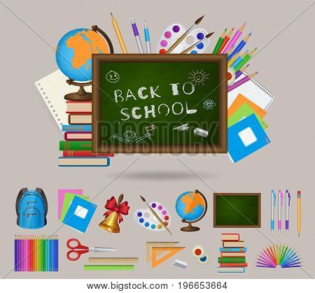 Set of student items and blackboard, back to school decoration element, isolated cartoon vector illustration. Set of isolated cartoon school items and blackboard, back to school concept