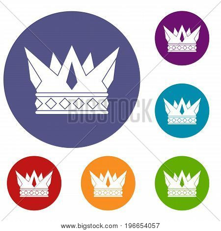Cog crown icons set in flat circle red, blue and green color for web