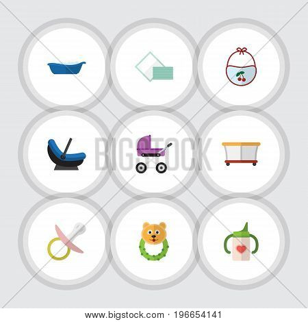 Flat Icon Kid Set Of Rattle, Nipple, Napkin And Other Vector Objects