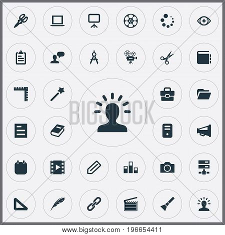 Elements Wizard Stick, Dossier, Camcorder And Other Synonyms Quill, Scissors And Retro.  Vector Illustration Set Of Simple Designicons Icons.