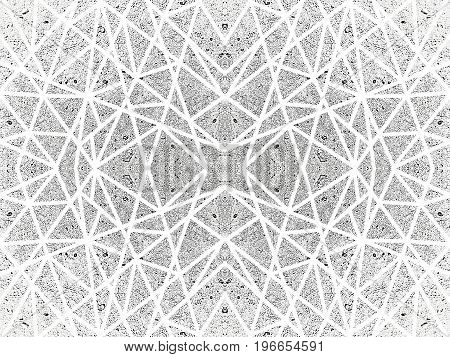 Ornamental background with kaleidoscope effect. Abstract pattern of white crossed lines. Symmetric spiderweb effect. For tech design of leaflets covers, wallpapers, websites, textile, giftwrap