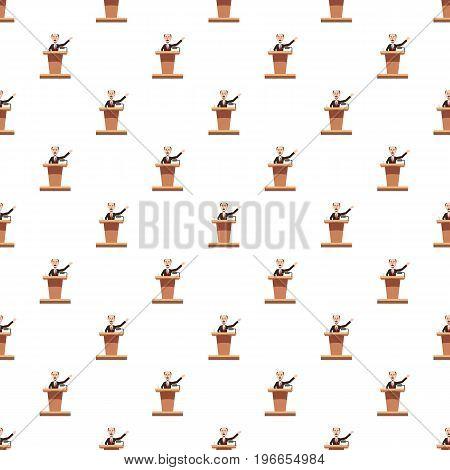 Speaker man pattern seamless repeat in cartoon style vector illustration