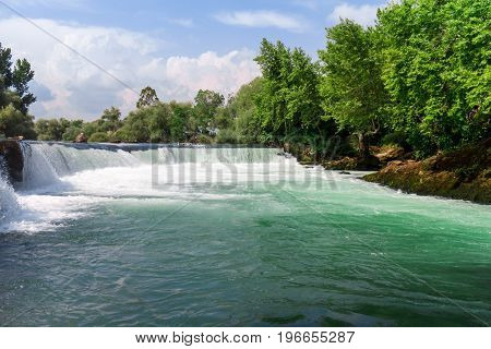 Manavgat waterfall in spring in Antalya Turkey