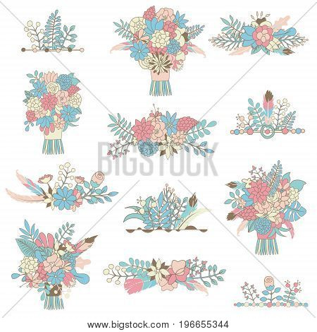 Hand drawn vector bouquets flowers arrangements and wreathes design. Wedding set. Roses eucalyptus carnation orchid peony poppy flowers ranunculus. All elements isolated and editable.