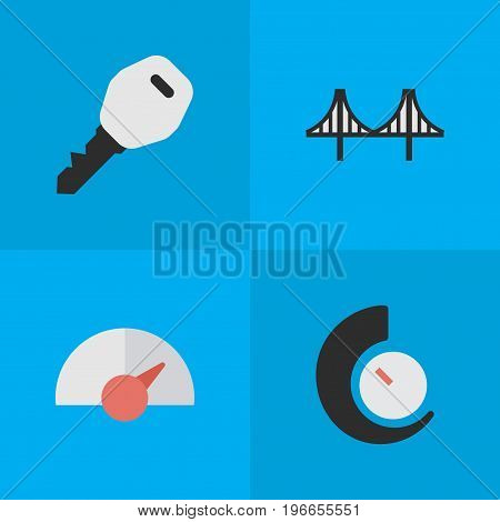 Elements Open, Speedometer, Speed And Other Synonyms Lock, Jumper And Chronometer.  Vector Illustration Set Of Simple Shipping Icons.