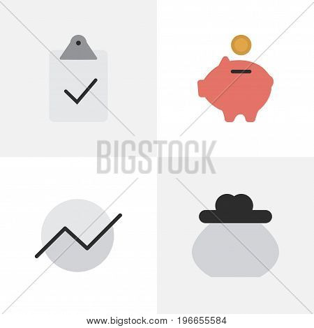 Elements Done, Wallet, Moneybox And Other Synonyms Wallet, Piggy And Growing.  Vector Illustration Set Of Simple Business Icons.