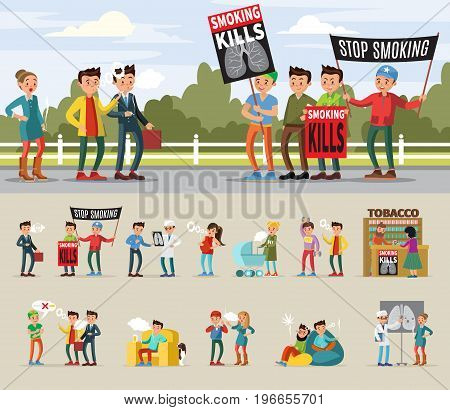 Demonstration against smoking concept with people group holding placards and smokers in different situations vector illustration